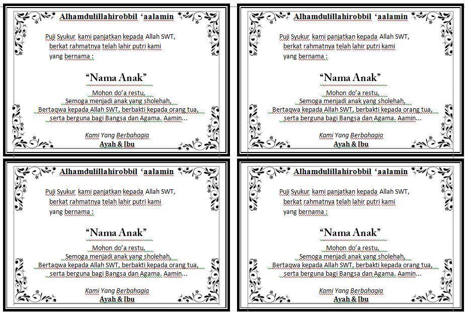 Download Contoh Kartu Ucapan Aqiqah Cantik Versi Word Pada Berkat