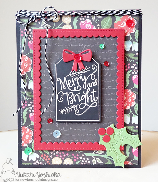 Merry and Bright Tag card by Yukari Yoshioka | Joyful Tags stamp set & Tags Times Two Die Set by Newton's Nook Designs #newtonsnook
