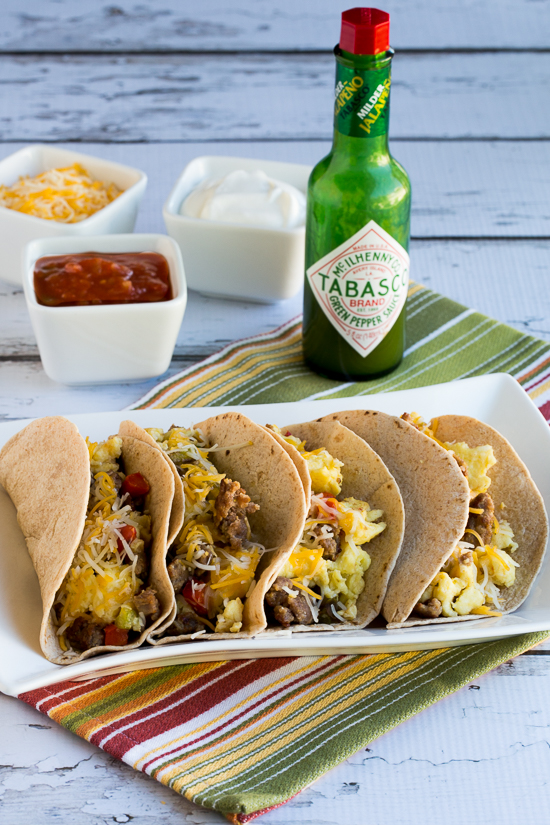 Low-Carb Breakfast Tacos Recipe with Sausage, Peppers, and Eggs found on KalynsKitchen.com.