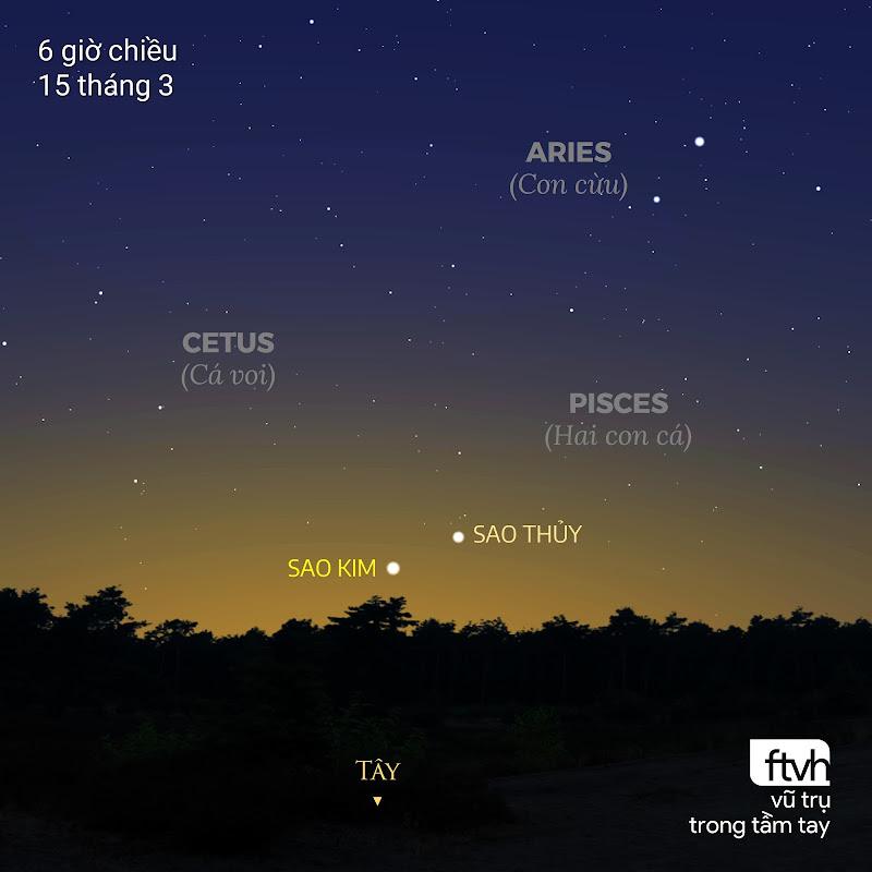 Sao Thủy sẽ lên cao nhất trên bầu trời vào chiều ngày 15 tháng 3 với 12 độ so với chân trời hướng tây. Bên cạnh nó còn có Sao Kim tỏa sáng rực rỡ. Đồ họa: Stellarium, Chú thích: Ftvh - Vũ trụ trong tầm tay.