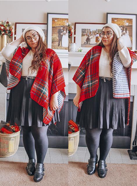 Tartan plaid shawl, white 3/4 sleeve sweater, white knit beret, black pleated skirt, black tights, black booties
