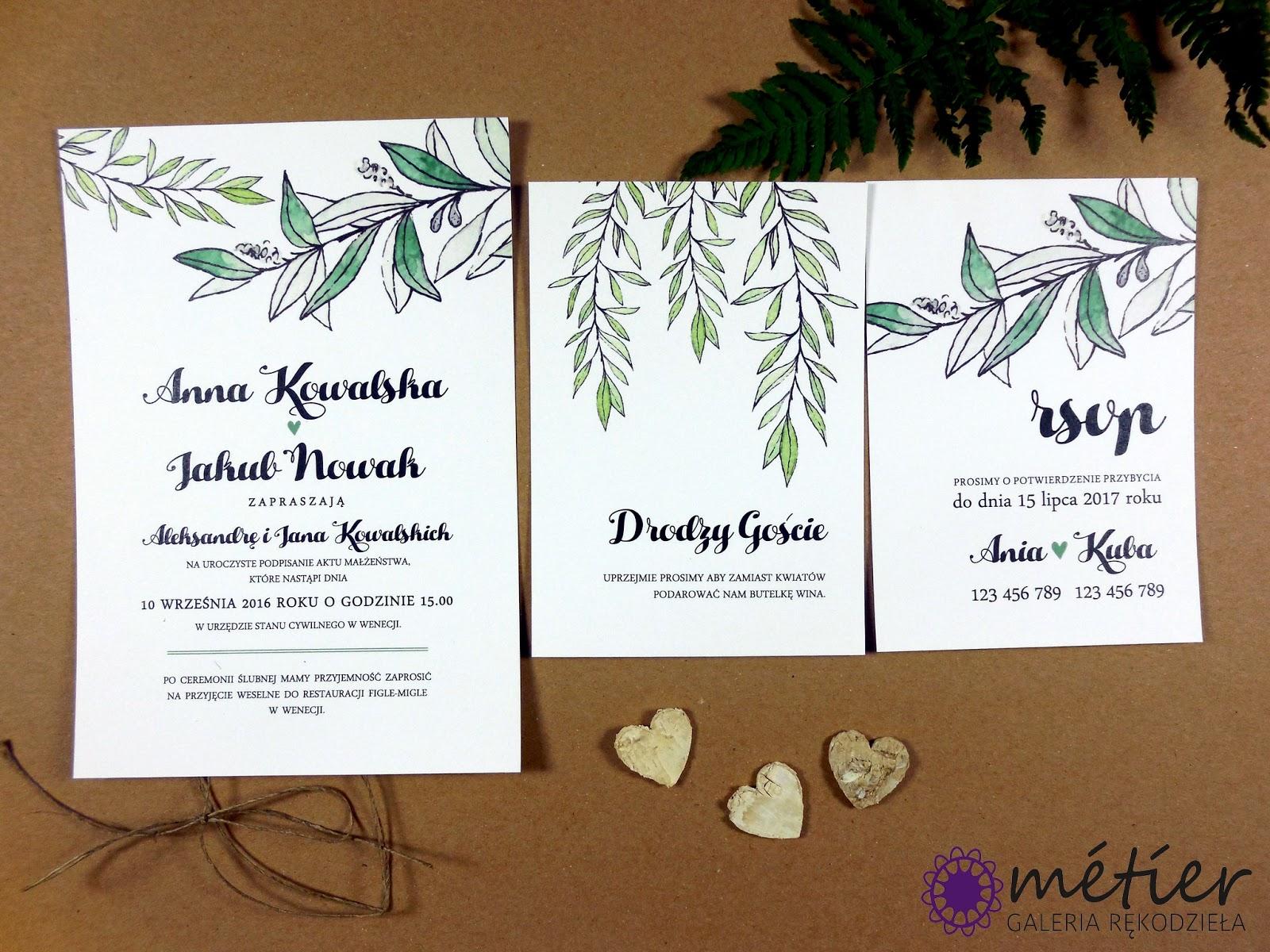 Zaproszenia ślubne Wwwmetierpl Greenery Wedding
