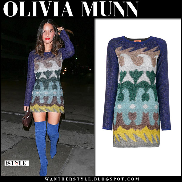 Olivia Munn in multi-printed mini dress missoni and blue suede boots night out style april 5