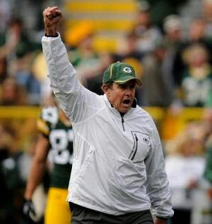 Green Bay Packers Dom Capers raising his fist in celebration