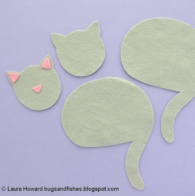 pieces for making the felt cat