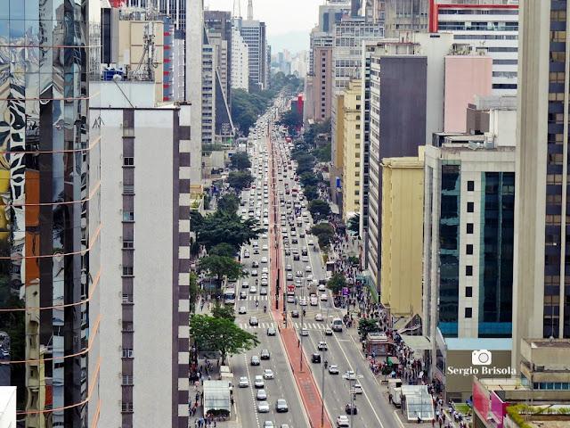 Vista superior da Avenida Paulista desde o Mirante do SESC - Bela Vista - São Paulo