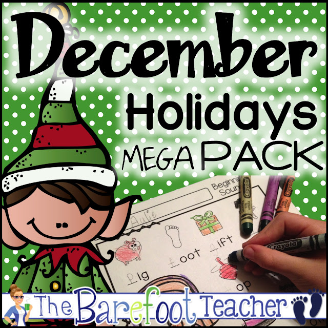 Looking for holiday activities? This December mega pack will go right along with the other crafts, games, and ideas you have planned for your preschool, kindergarten, or first grade kids. Includes math, phonics, literacy, and more! Includes gingerbread man, Christmas, Santa, nativity, polar express, and more! #christmas #polarexpress #gingerbread #gingerbreadman #winter #december #kindergarten #math #literacy #holidays