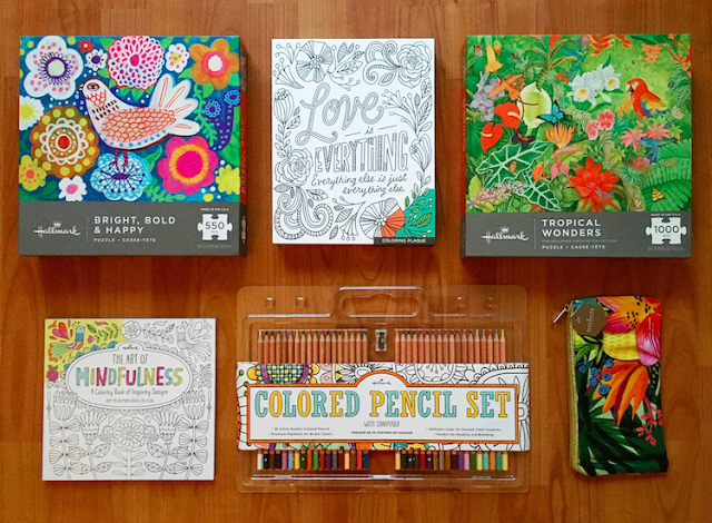 Hallmark Puzzles - Colouring Book - Pencil Crayons - Pencil Case