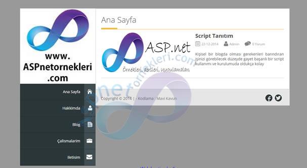 Asp.Net Kişisel Blog – Web Sitesi Scripti 2017