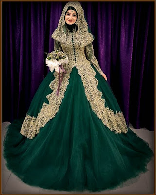 Model Gaun Pengantin Muslimah Modern Masakini Warna Hijau Tua