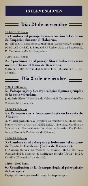 Seminario sobre Paleopaisajes del litoral mediterráneo ibérico.