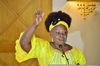 Millie Odhiambo in a womens meeting in Orange house. PHOTO | Courtesy