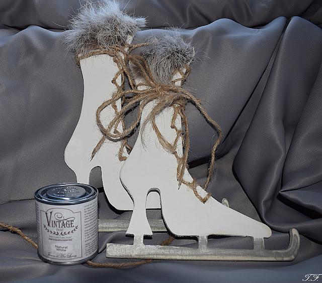 Ice Skates-Boots Shabby und Vintage Style
