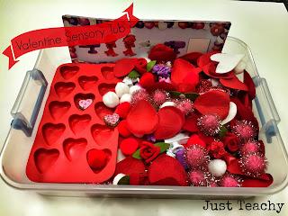 Valentine Sensory Tub, www.justteachy.blogspot.com
