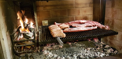 Parrilla fire and asado
