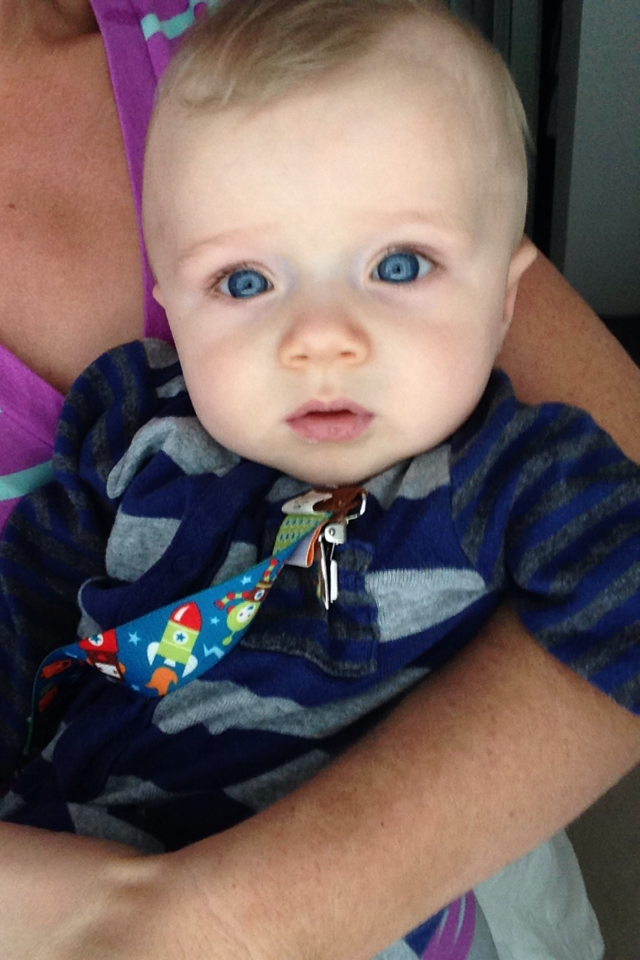 Blonde hair blue eyes boy baby