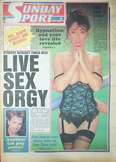 Kathy Lloyd photo on the front cover of The Sunday Sport paper from 6-12-1986