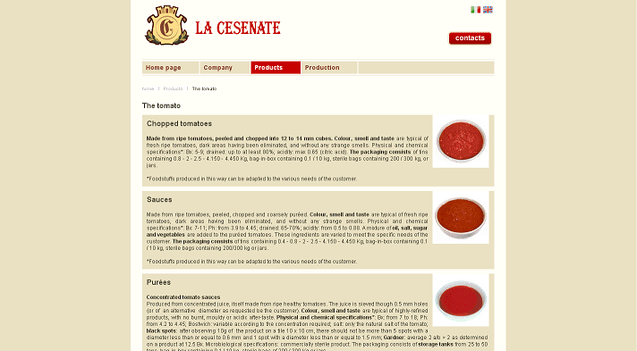 Picture to Italian food exporter company named La Cesenate
