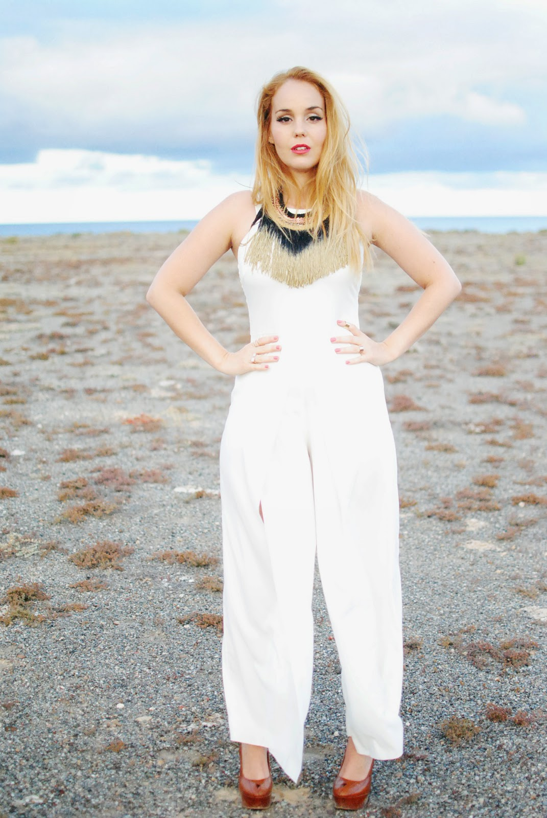 nery hdez, jumpsuits, axparis, total white, adolfo dominguez, fringes necklace
