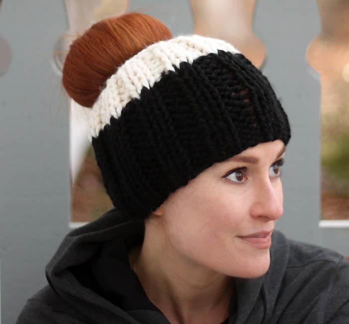 Messy Bun Hat Free Knitting Pattern