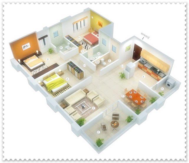gambar denah rumah 3 kamar ukuran 7x9