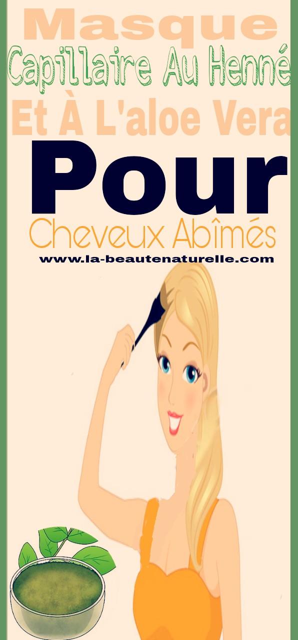 Masque capillaire au henné et à l'aloe vera pour cheveux abîmés