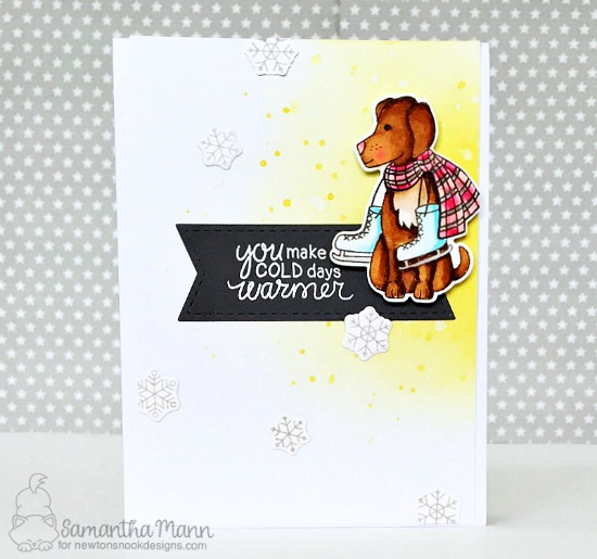 Winter Dog with Ice Skates | Card by Samantha Mann | Winter Woofs Dog Stamp set and Frames & Flags Die Set by Newton's Nook Designs #newtonsnook