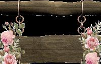 Placa de madeira e flor png