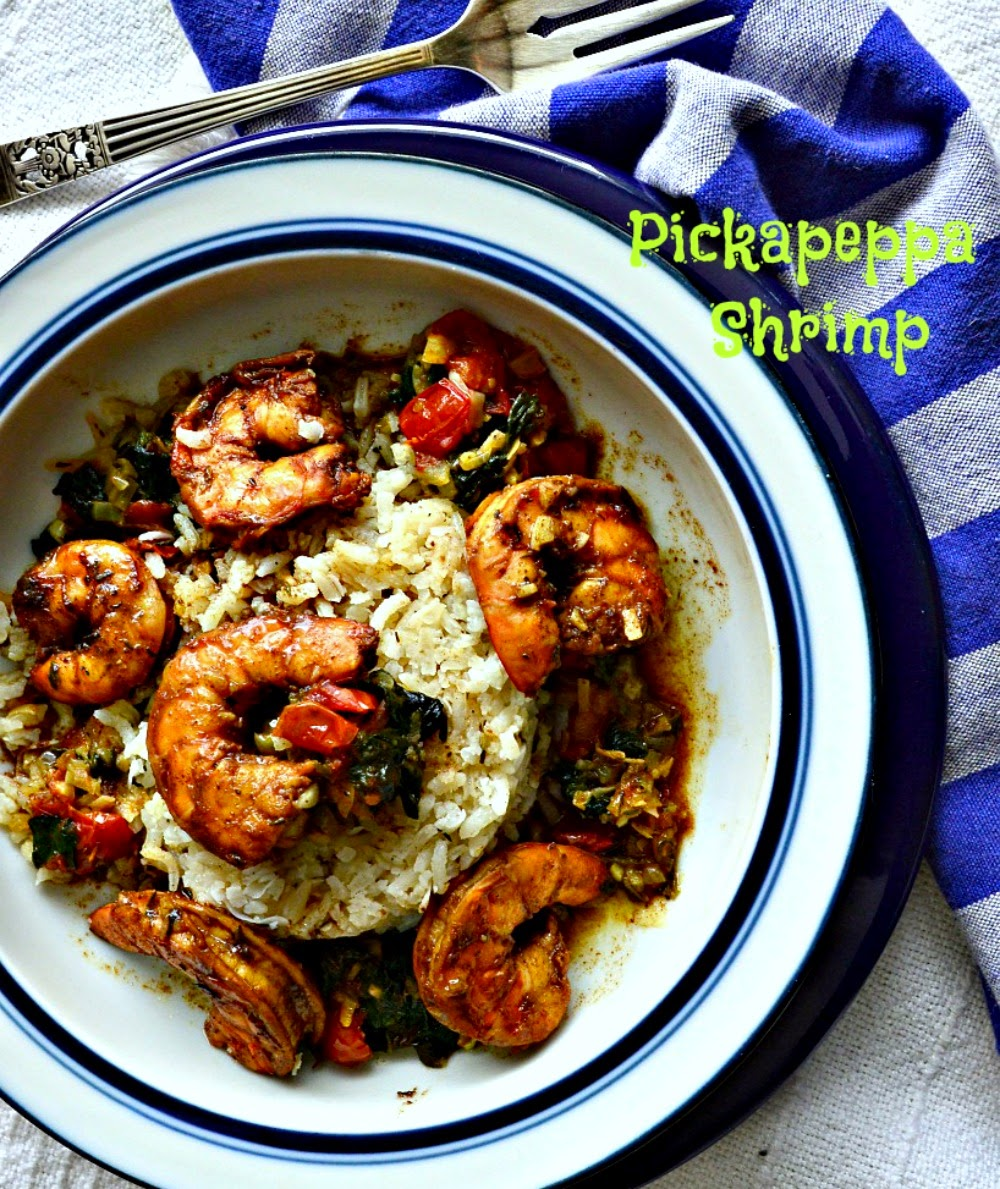 Pickapeppa Shrimp. If you have a bottle in your fridge this is the easiest and most delicious way to use it! Makes one fast dinner! #shrimp #pickapeppa sauce #seafood www.thisishowicook.com