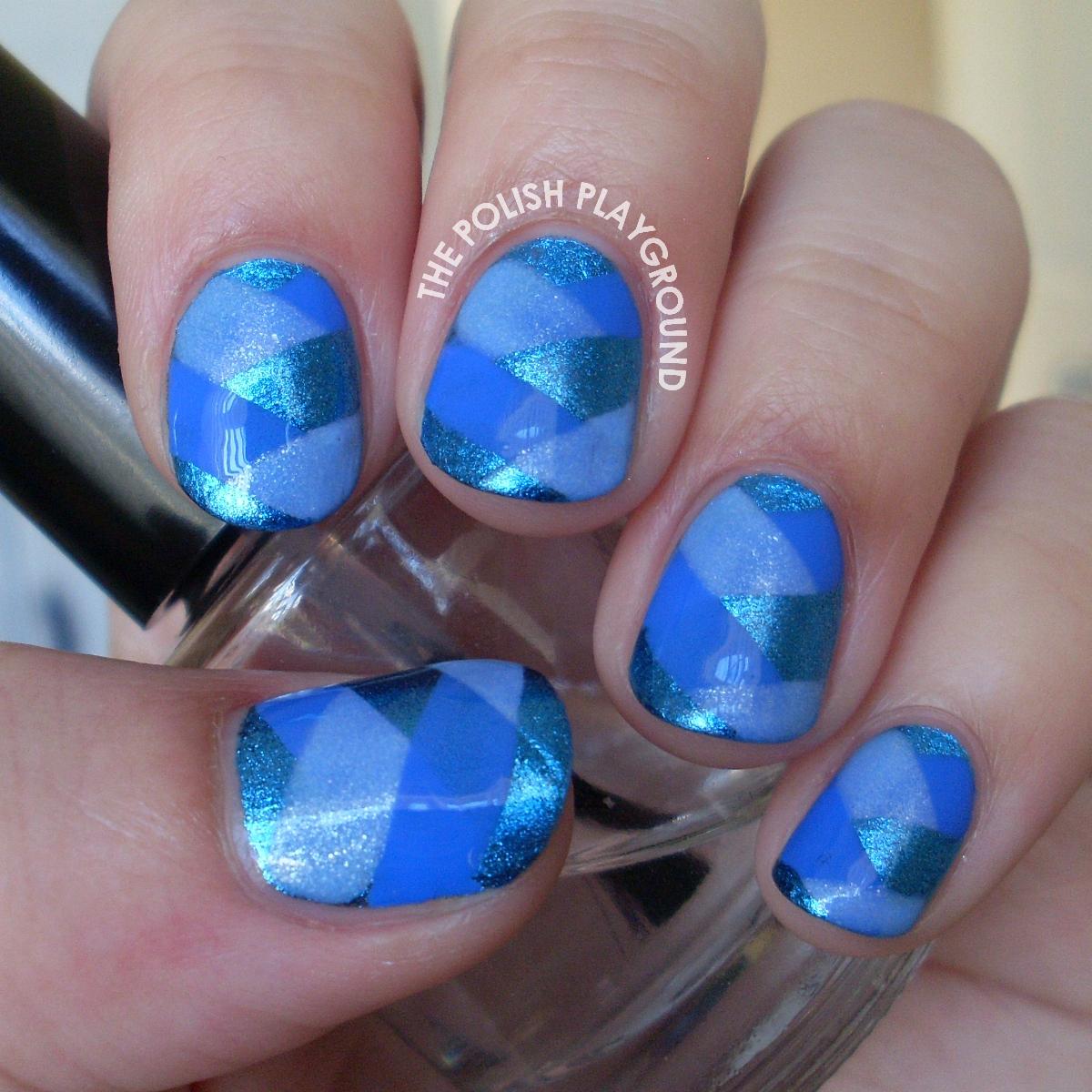 Blue Nail Art: The Polish Playground: Blue Fishtail Braided Nail Art