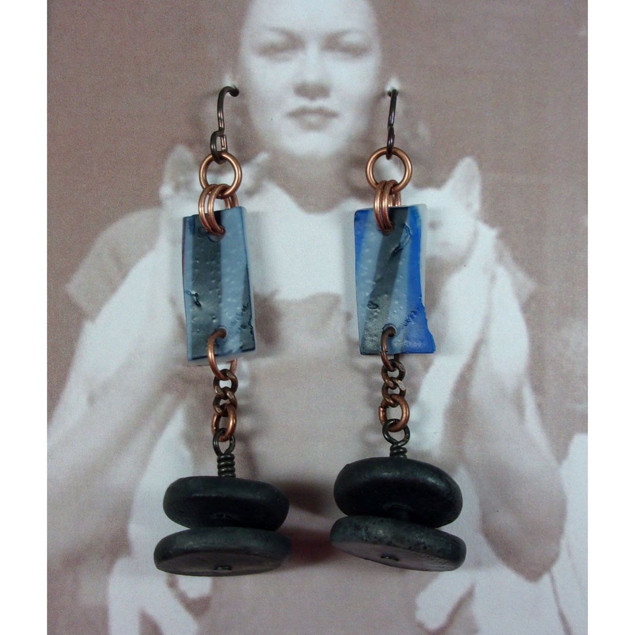 Black and Blue Earrings