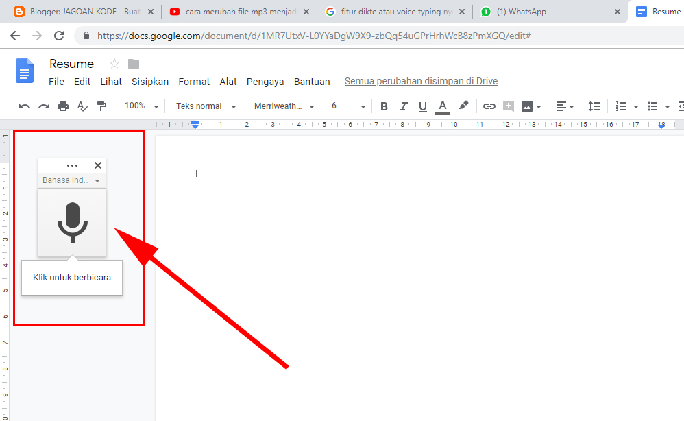 Cara memunculkan voice typing di google docs,voice typing di google docs
