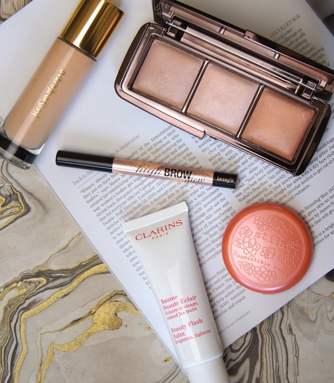 5 makeup products for glowing skin clarins primer moisturiser ysl foundation hourglass powder still cream blush benefit highlight