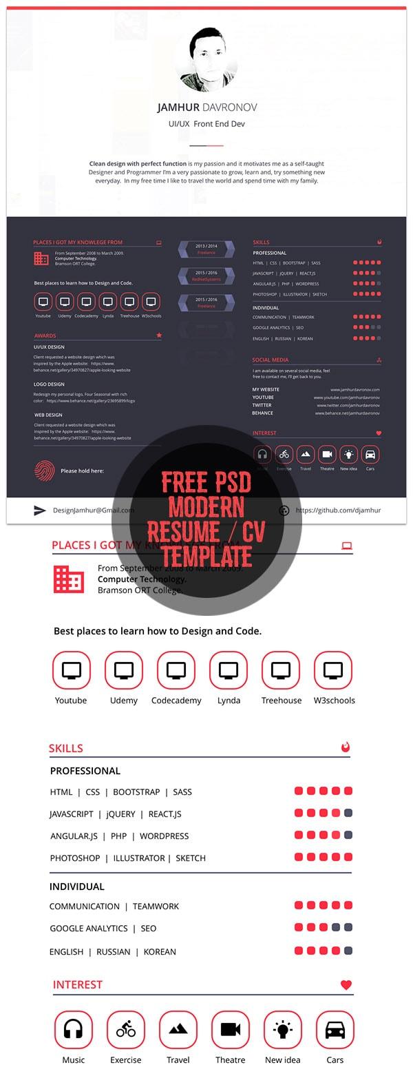 Template Resume / CV Terbaru 2017 - Free Modern Free Resume Template