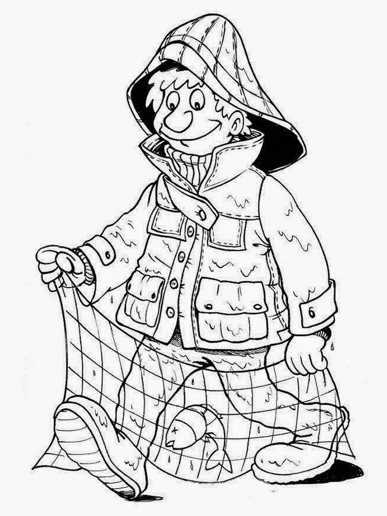 coloring pages of a fisherman