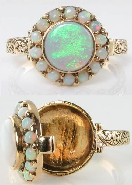 Victorian-inspired 9 karat gold and opal poison ring