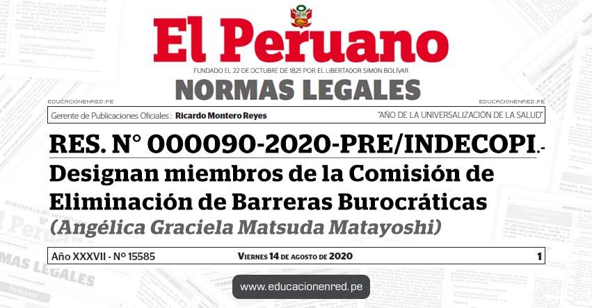 RES. N° 000090-2020-PRE/INDECOPI.-Designan miembros de la Comisión de Eliminación de Barreras Burocráticas (Angélica Graciela Matsuda Matayoshi)