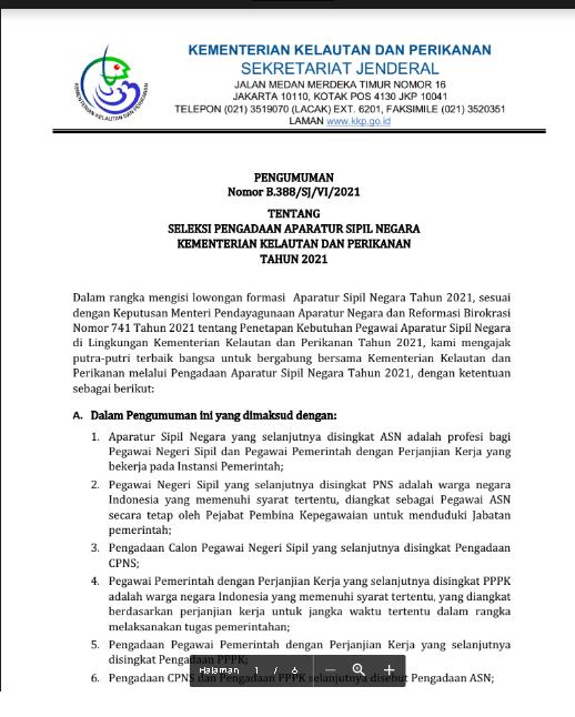 Lowongan CPNS Kementerian Kelautan dan Perikanan Tahun 2021
