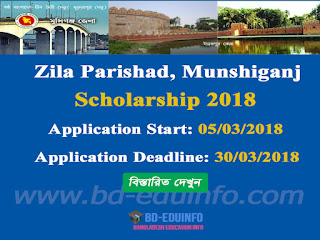 Munshiganj Zila Parishad JSC, SSC and HSC Scholarship 2017-2018