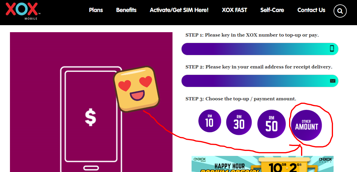 cara senang topup atau bayar bil guna XOX Fast