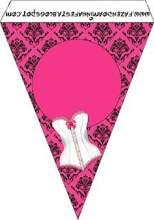 Banderines para Imprimir Gratis de Lencería en Rosa.