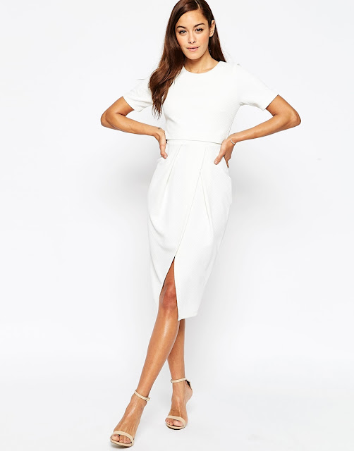 white split front midi dress,