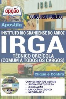Apostila Concurso IRGA RS 2016 Técnico Orizícola Instituto Rio Grandense do Arroz
