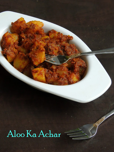Quick Potato Pickle, Aloo Ka Achar