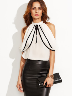 White Cold Shoulder Keyhole Back Blouse