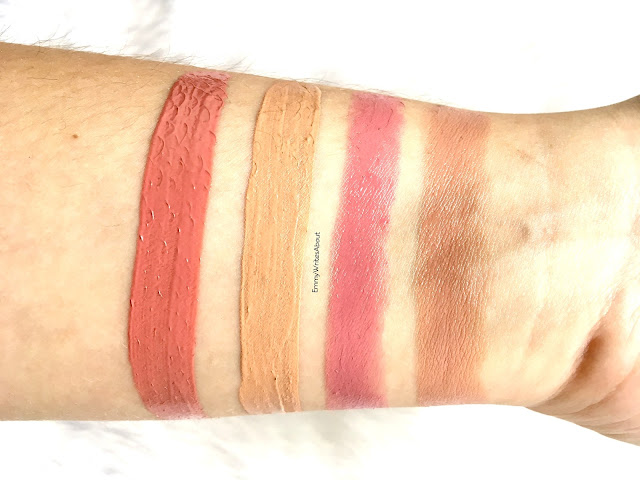 lipstick swatches, nyx intense butter gloss tres leches, rimmel stay matte latte to go, Maybelline tantilizing taupe