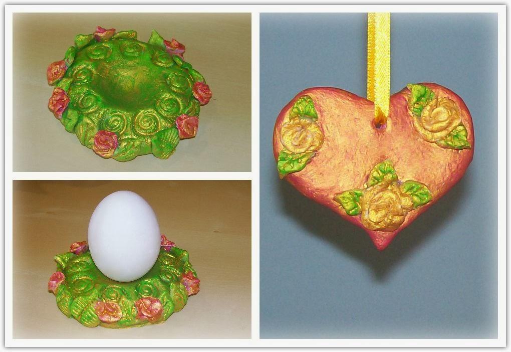 лепим из солёного теста пасхальную подставку для яиц и сердечко