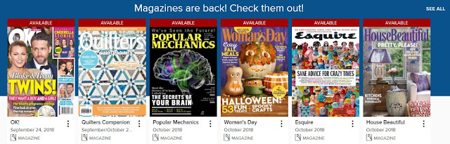screenshot of SD Titles To Go Magazine selections including OK, Quilters, Popular Mechanics, Woman's Day, Esquire, and House Beautiful