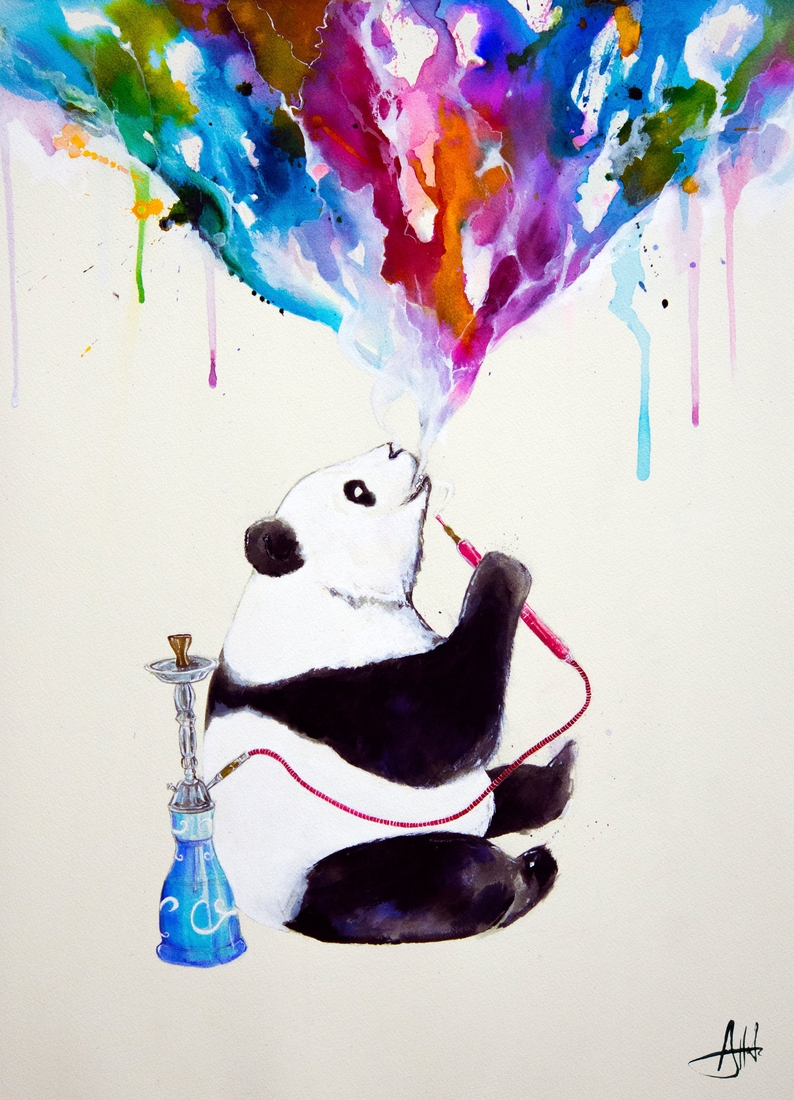 07-Black-and-white-Panda-Marc-Allante-Wild-Animal-Paintings-with-a-Splash-of-Color-www-designstack-co