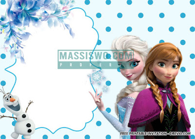 desain undangan ulang tahun anak tema Film Frozen